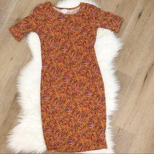NWT Lularoe floral Julia dress rusty brown size xs